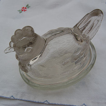 Pressed Glass Hen Butter Dish