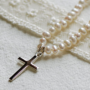 Pearl Necklace With Silver Cross - children's jewellery