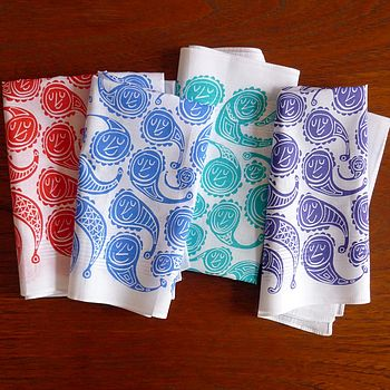 Set Of Two Happy Paisley Hankies