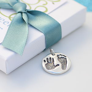 Double Handprint Footprint Silver Charm - charm jewellery