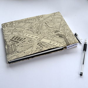 A5 Paris Map Fabric Notebook Or Sketchbook