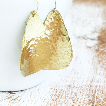 Hammered Brass Lure Earrings
