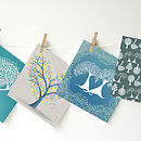 Set Of Four Illustrated Tree Greetings Cards