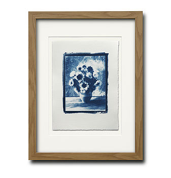 "Cyanotype ""Sunflowers""- Natural frame finish"