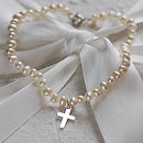 Pearl Bracelet With Sterling Silver Cross