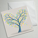 Set Of Four Illustrated Tree Greetings Cards (Hearts & Flowers Tree)