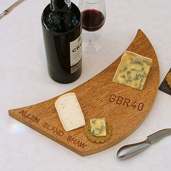 personalised sail shaped cheese board