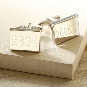 Engraved Rectangular Cufflinks - wedding jewellery