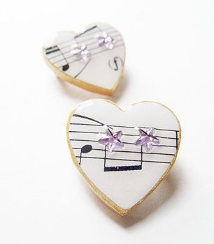 Star Music Heart Brooch