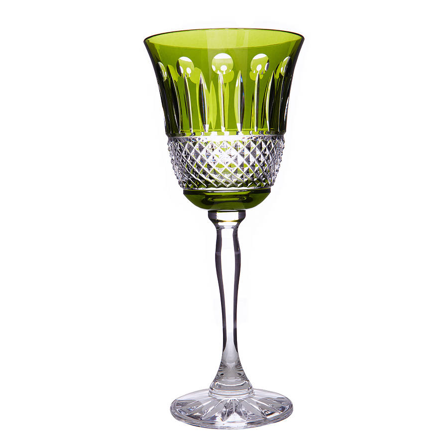 set of two rainbow olive green wine glasses by gurasu. Black Bedroom Furniture Sets. Home Design Ideas
