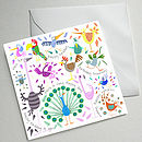 Set Of Five Illustrated Birthday Cards (Happy Birdday)