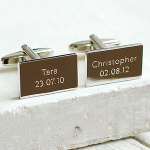 Personalised Rectangular Cufflinks - men's jewellery