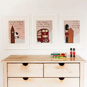 Set Of Three London Nursery Art Prints - paintings & canvases