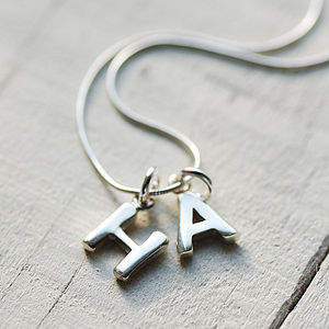 Chunky Silver Initial Necklace