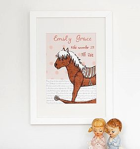 Personalised Birth Date Horsey Print - gifts for babies