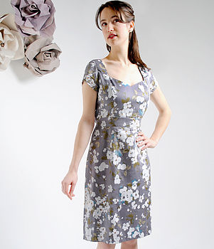 Purple Candy Floral Silk Cotton Adelle Dress