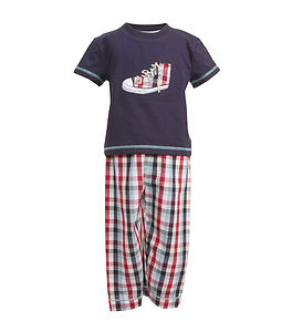 Boy's Leisure Pyjamas With Trainer Motif - children's clothing