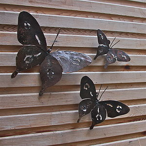 Metal Butterfly Garden Wall Art Set Of Three - art & decorations
