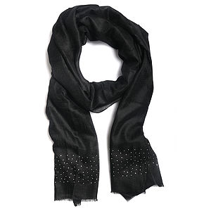 Cashmere Stole Eloborated With Swarovski Crystals - pashminas & wraps
