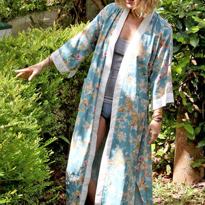 Floral Dusk Kimono Dressing Gown - maternity