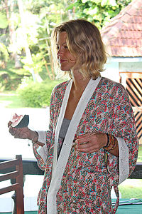 Feather Frolic Short Kimono Dressing Gown - lounge & nightwear