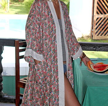 Feather Frolic Short Kimono Dressing Gown