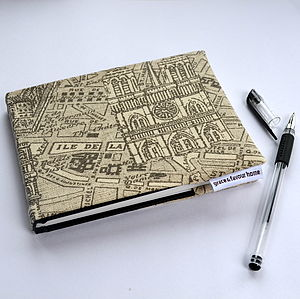 A6 Paris Map Fabric Notebook/Sketchbook