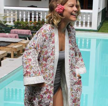 Florist Short Kimono Dressing Gown