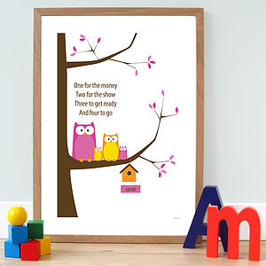 Personalised 'Owl Family' Poster