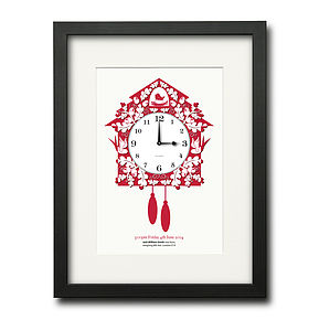 Personalised Magic Moment Cuckoo Clock Print - prints & art