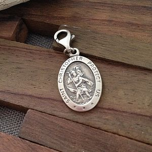 Personalised Sterling Silver St Christopher Clip Charm