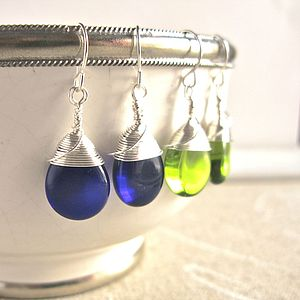 All Wrapped Up Teardrop Glass Earrings - earrings