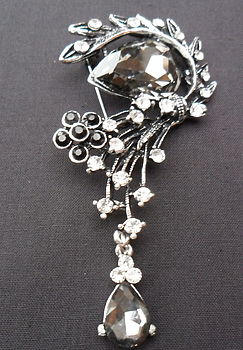 Black And Clear Diamante Brooch *Offer