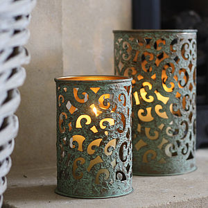 Green Metal Lantern - votives & tea light holders