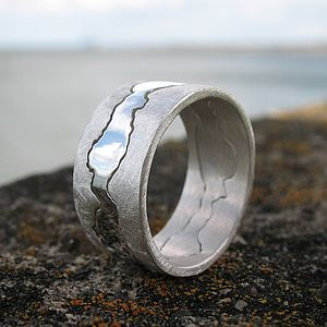Personalised Double Coastline Ring - distinctive dad jewellery
