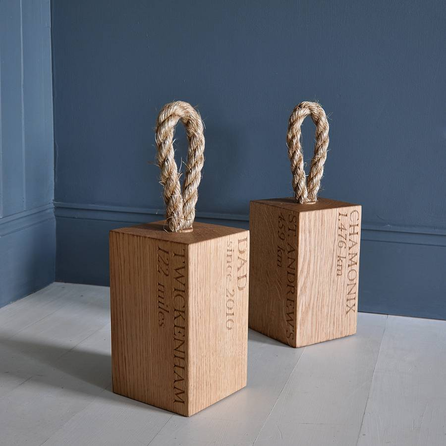 Personalised Oak Doorstop By The Oak Rope Company