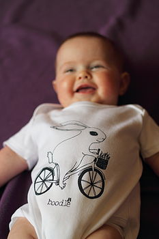 Organic 'Bunny On A Bike' Baby Grow *Sale*