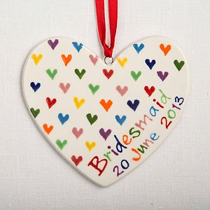 Personalised Hand Painted Love Heart - wedding favours