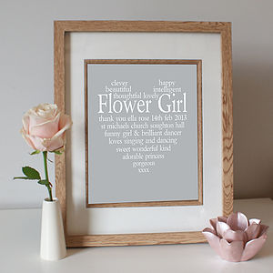 Personalised Flower Girl Print - wedding thank you gifts