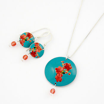Disc And Crystal Necklace And Earrings Set