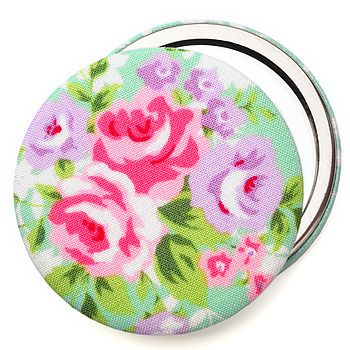 Floral Rose Compact Mirror - Mint Green