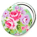 Pastel Floral Rose Compact Mirror