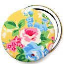 Floral Rose Compact Mirror - Yellow