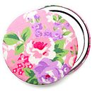 Floral Rose Compact Mirror - Pink