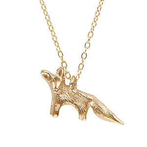 Gold Why Hello Mr Fox Necklace - necklaces & pendants