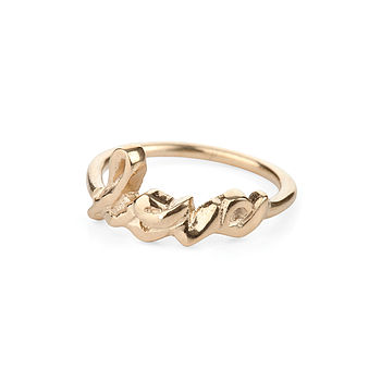 18k Gold Plated Sterling Silver Love Ring