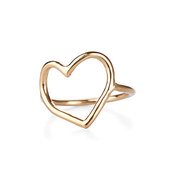 18k Gold Plated Sterling Silver Open Heart Ring
