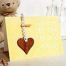 Personalised New Baby Keepsake Card Yellow