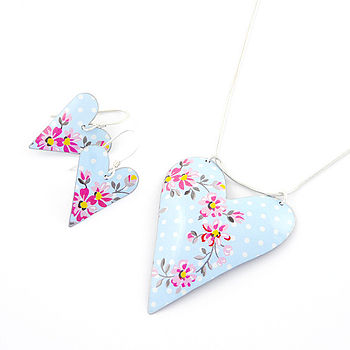 Floral Heart Pendant And Earrings Set