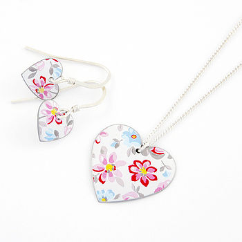 Heart Pendant And Earrings Set